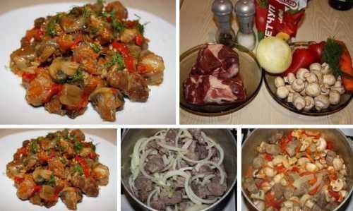 Рецепты мяса тушёного с грибами, секреты выбора