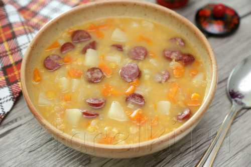 Рецепты супчиков гороховых с колбасой, секреты